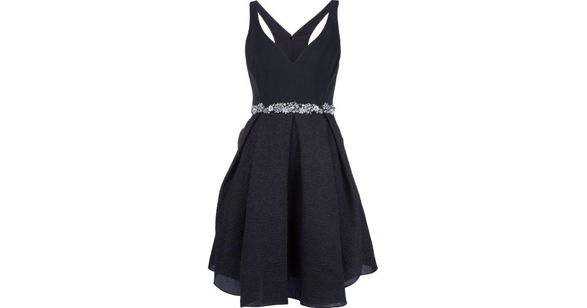 notte by marchesa embellished belt evening dress in black