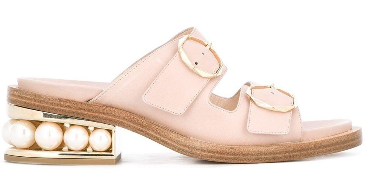 Pink - 35mm Casati Pearl Two-strap Sandals - Women - Lamb Skin/leather/nappa Leather - 39