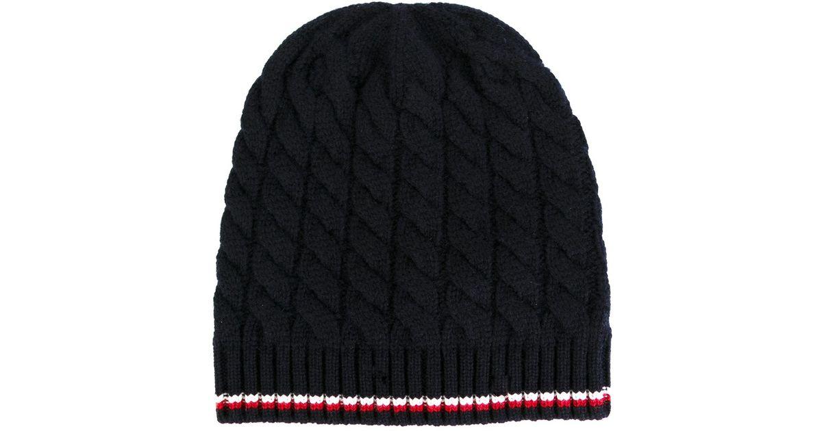 e9fb24a312c Moncler Gamme Bleu Cable Knit Hat in Blue for Men - Lyst