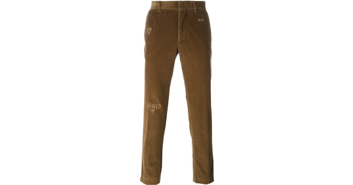 b7bfec75059 Lyst - MSGM Distressed Corduroy Trousers in Brown for Men
