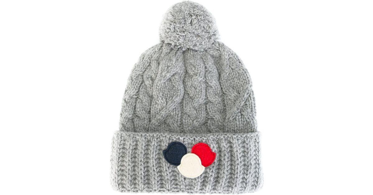 e1ce2b36149 Lyst - Moncler Pom Pom Beanie Hat in Gray