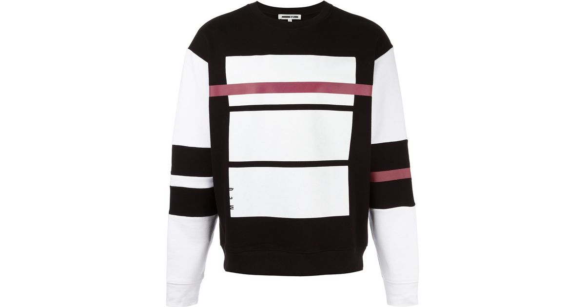 Mcq Red Line Print Sweatshirt In Black For Men Lyst