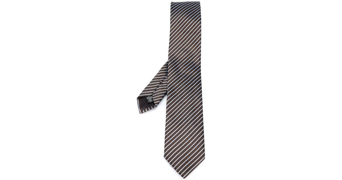 08a675ac Ermenegildo Zegna - Brown - Striped Pattern Tie - Men - Silk - One Size for  Men - Lyst
