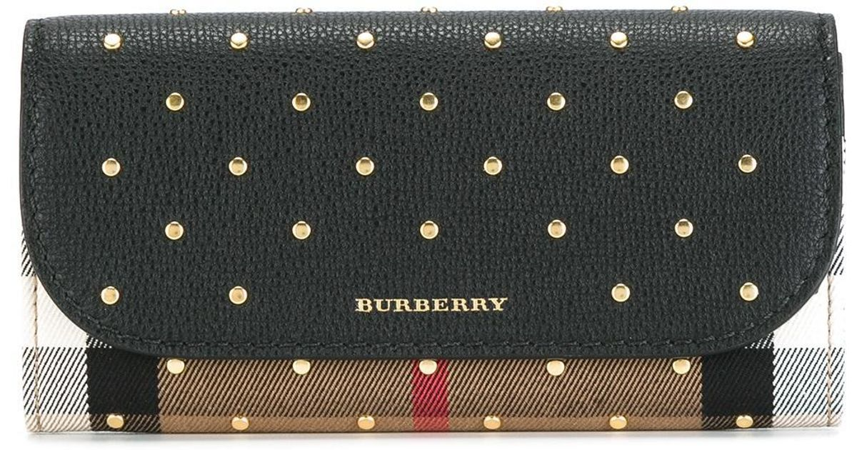 7b2ab988017b Lyst - Burberry Studded  house Check  Wallet in Black