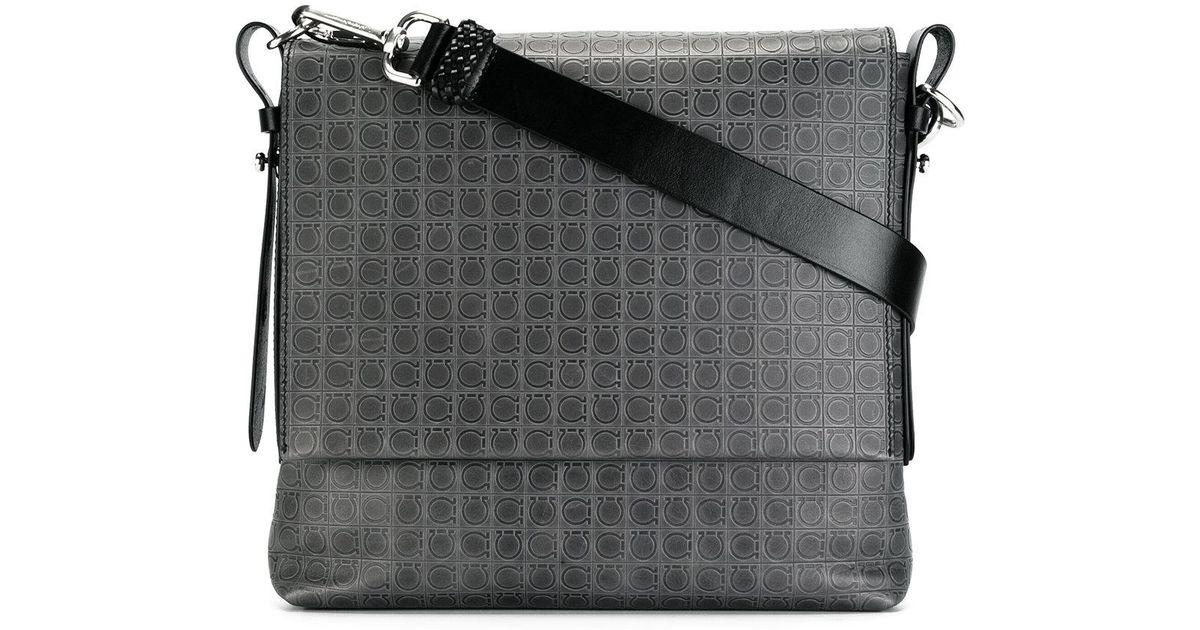 Lyst - Ferragamo Gancio Printed Crossbody Bag in Gray for Men d69f76738677b