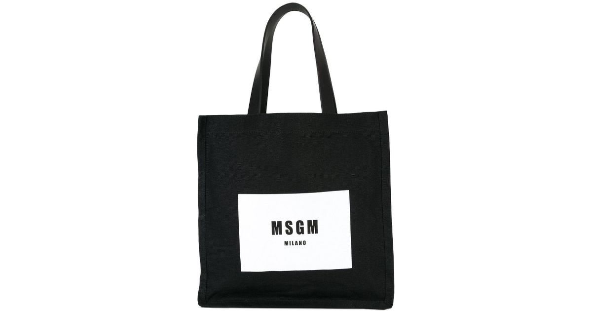 7b131ac244 Lyst - MSGM Logo Print Tote Bag in Black
