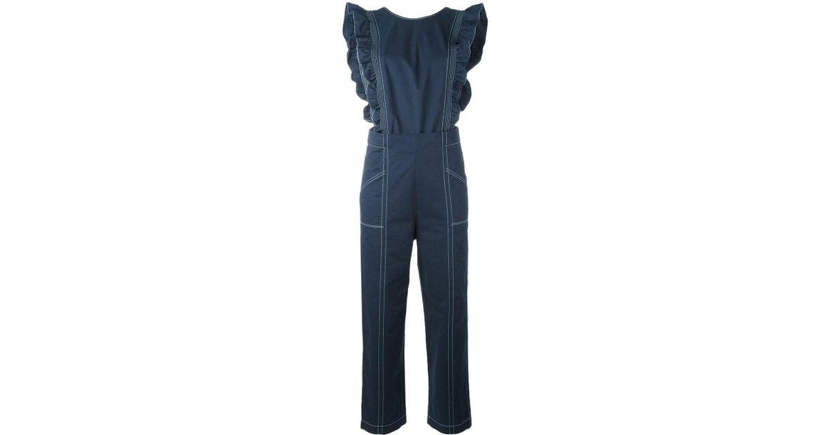 e6efef80b6a7 Lyst - Ganni Cuban Jumpsuit in Blue
