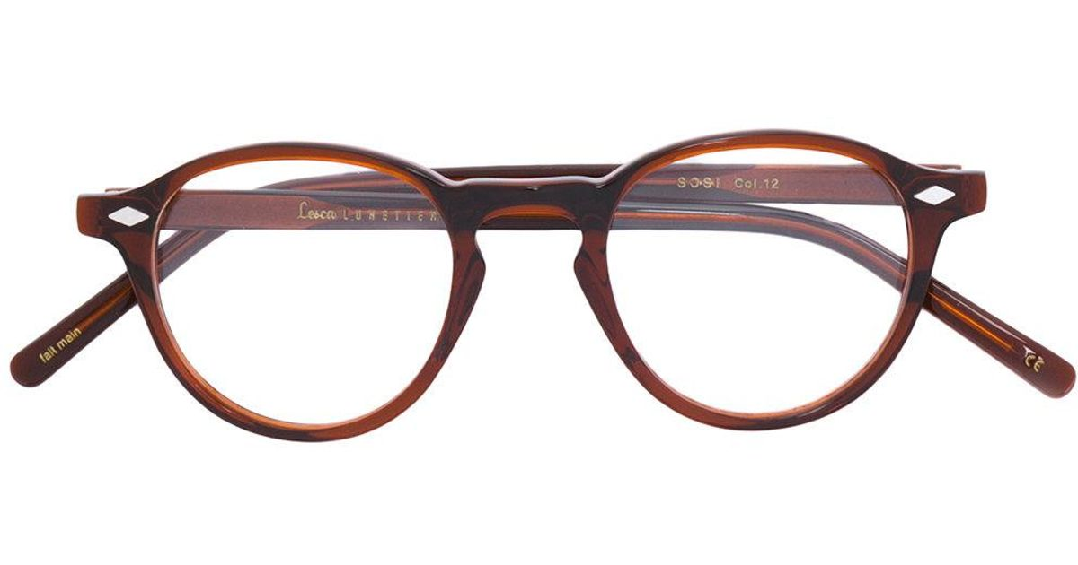 81a5a0c281 Lesca Round Glasses in Brown - Lyst