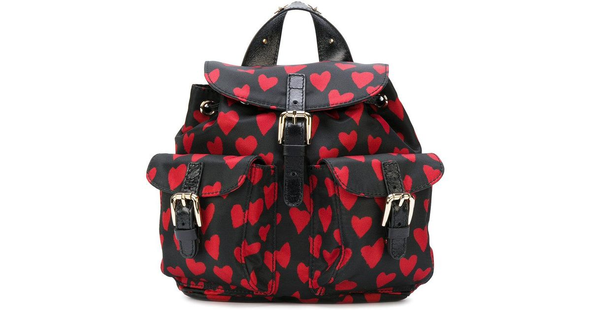 b853449cfd Lyst - RED Valentino Hearts Print Backpack in Black