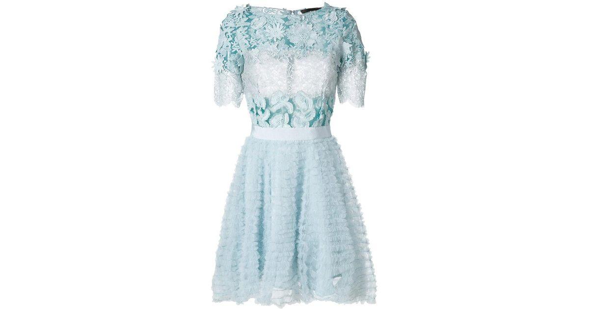 Lyst amen floral appliqué mini dress in blue