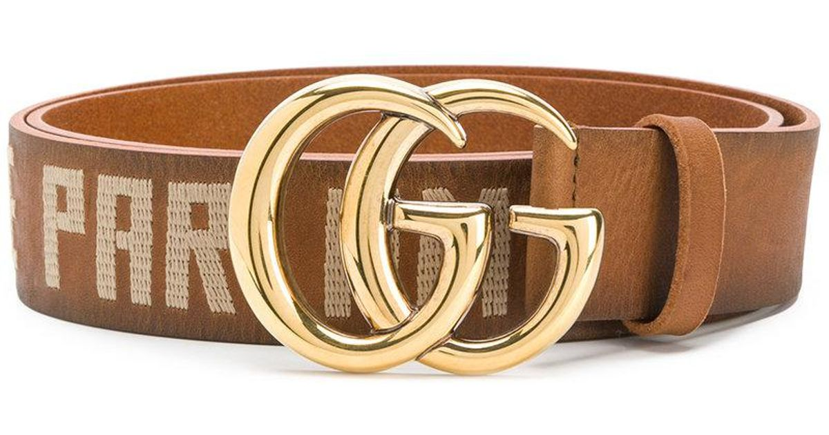 5fee78d50 Gucci Embroidered Double G Buckle Belt in Brown for Men - Lyst