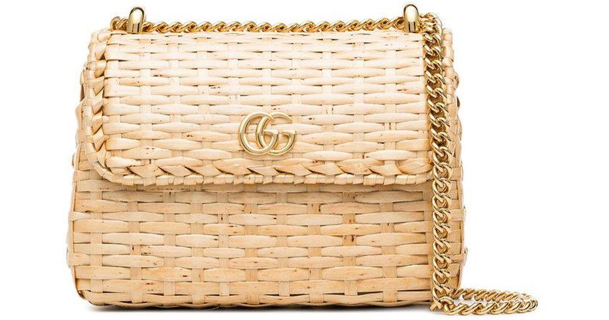 4ea24a4fc Gucci Natural Cestino Mini Wicker Bag in Natural - Lyst