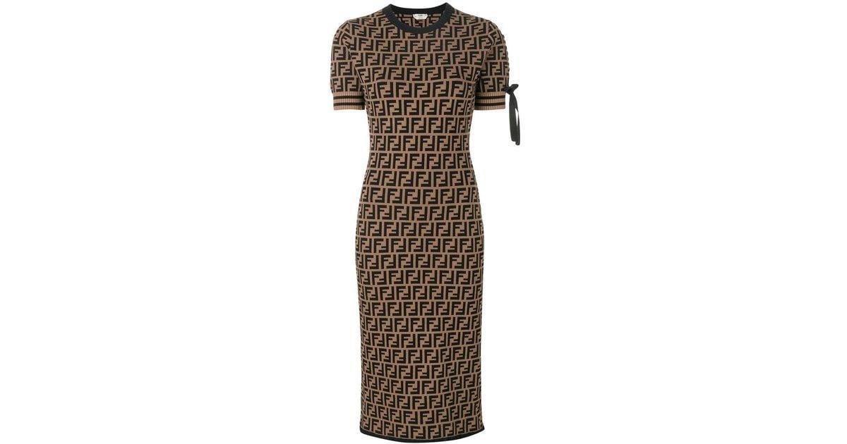 a78c860d2d5 Fendi Logo Short-sleeve Sweater Dress in Brown - Lyst