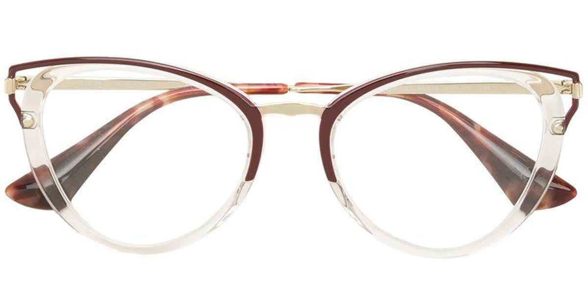 Lyst - Prada Cat Eye-frame Glasses in White