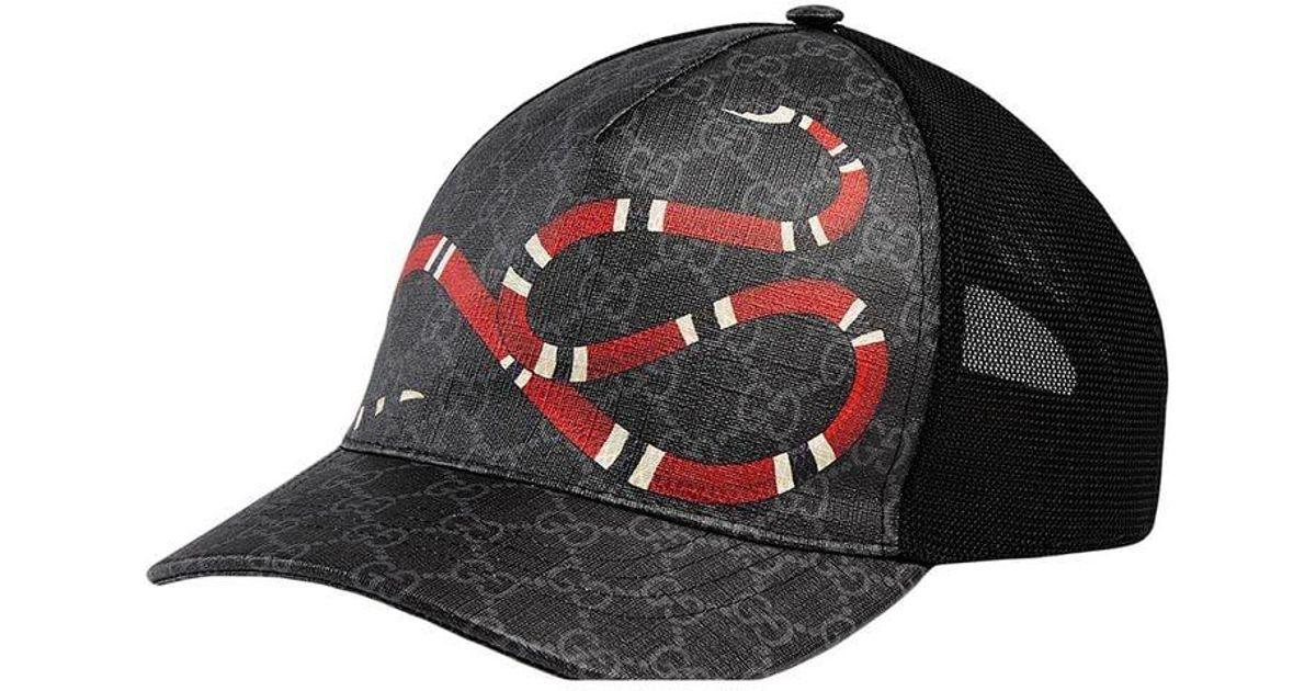 066dc2ee7f1 Lyst - Gucci Kingsnake Print GG Supreme Baseball Hat in Black for Men