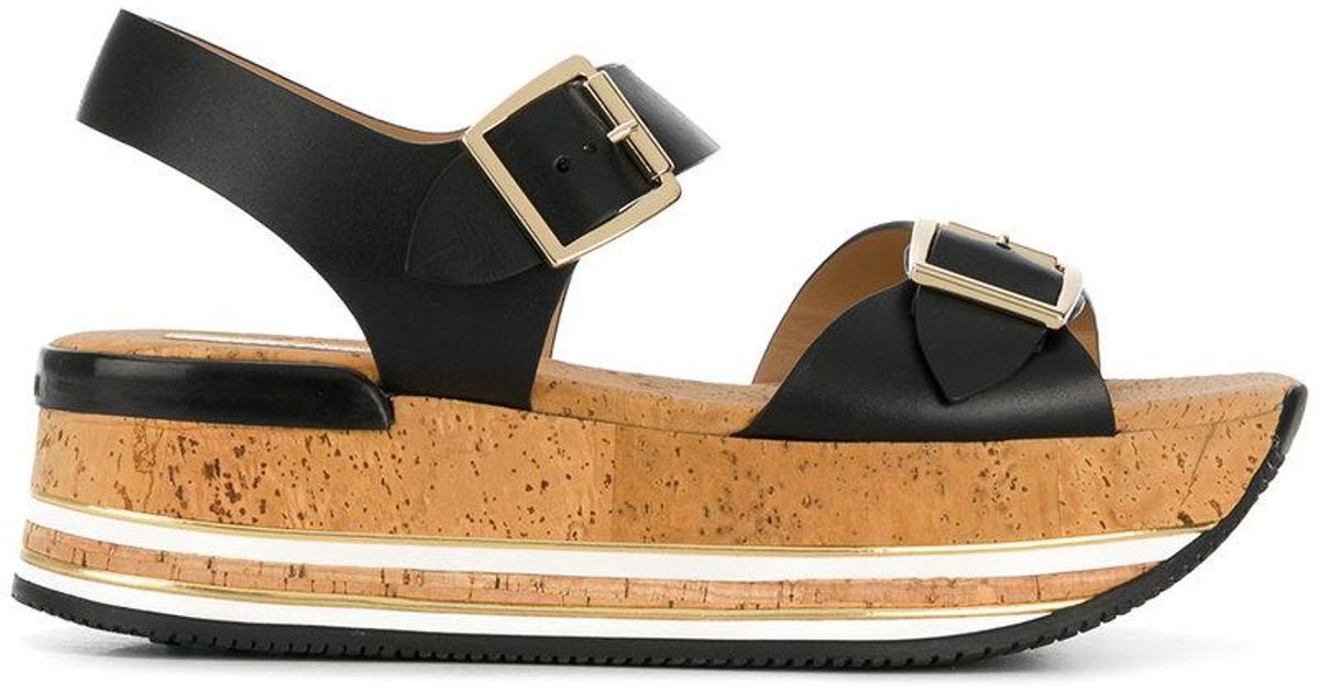 06d4d15e408 Hogan Platform Buckle Sandals in Black - Lyst