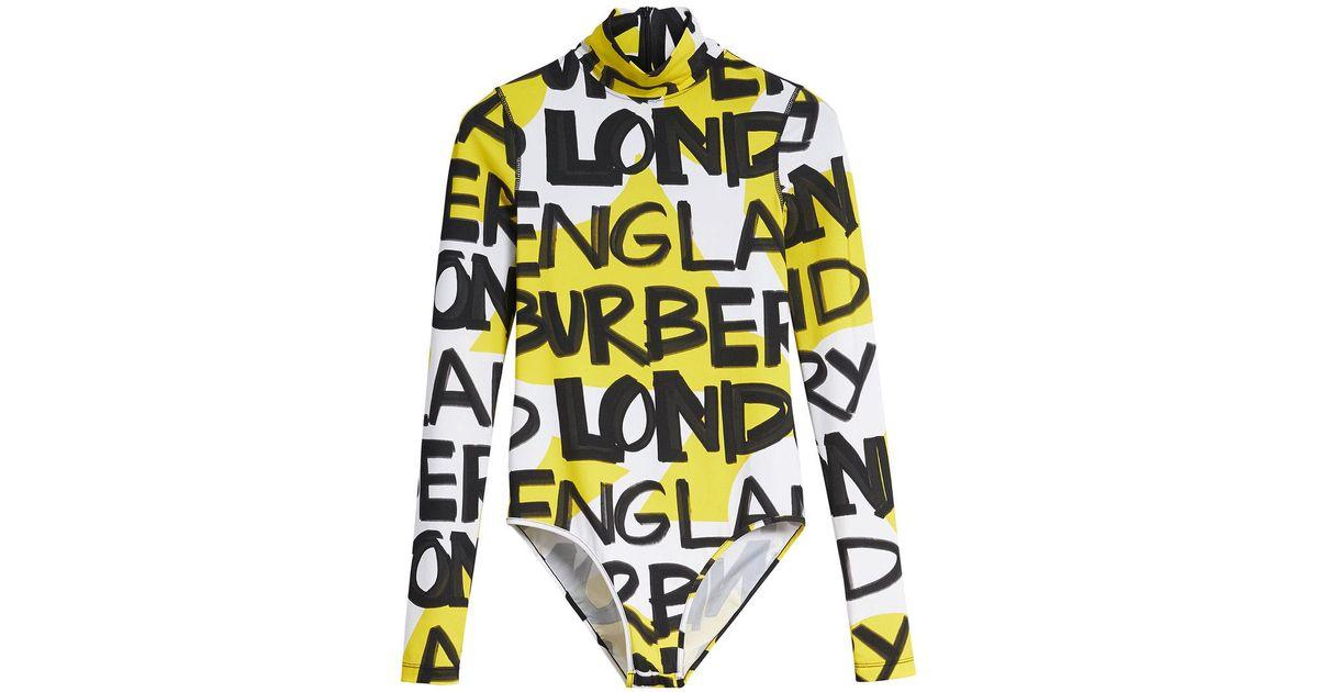 Cheap Sale Outlet Browse Cheap Price Graffiti Print Stretch Jersey Bodysuit - Yellow & Orange Burberry e23gYVGcuY
