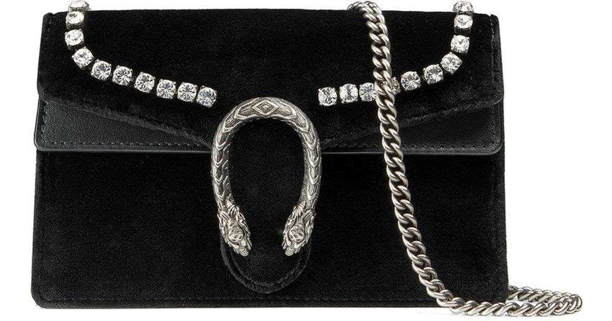 100958272d5924 Gucci Dionysus Mini Velvet Wallet On A Chain in Black - Lyst