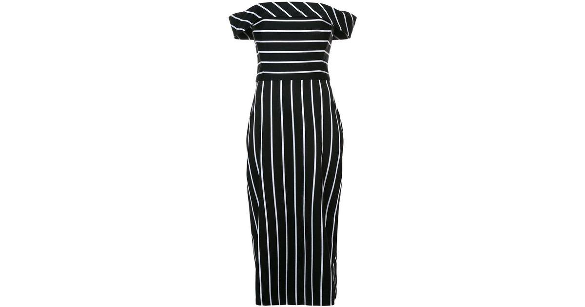 Lyst Christian Siriano Striped Off Shoulder Dress In Black
