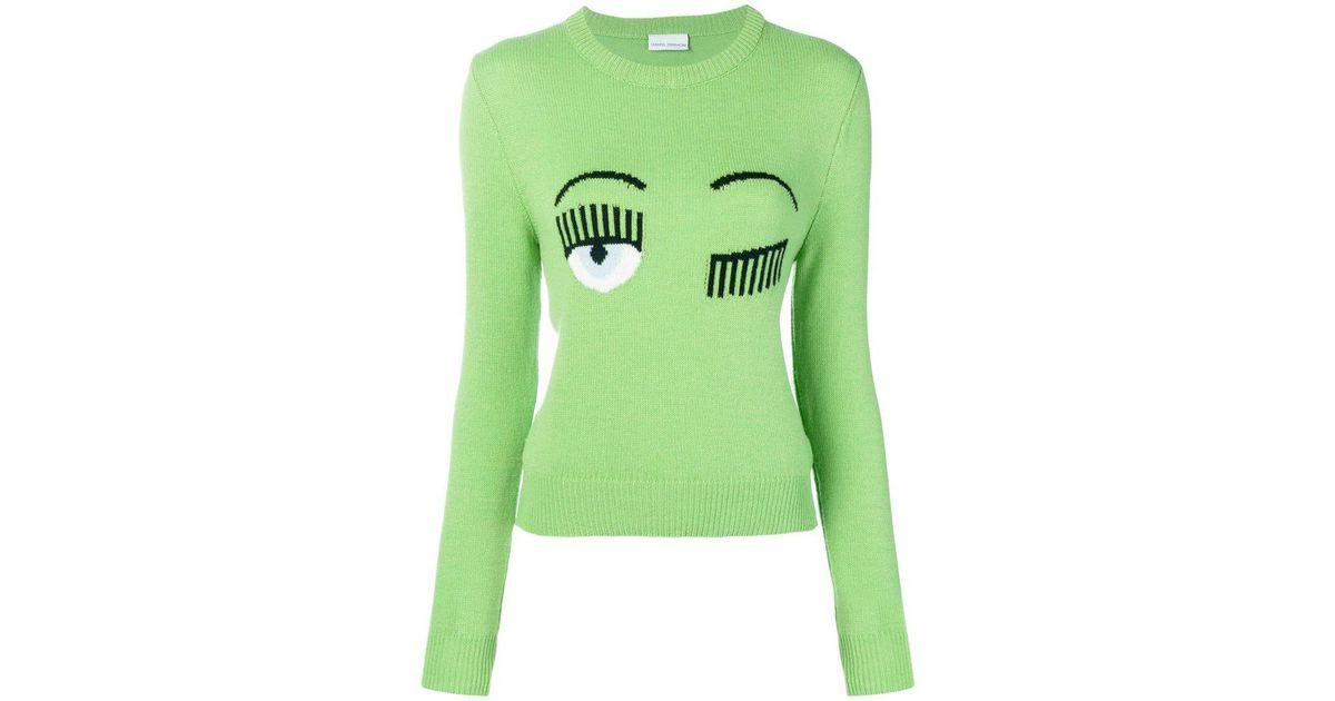 a0e1e95ee Chiara Ferragni Wink Sweater in Green - Lyst