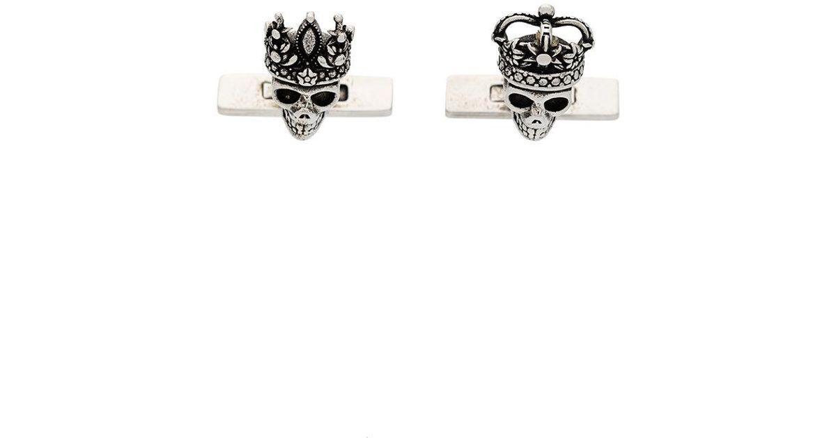 Alexander McQueen Queen & King skull cufflinks - Metallic jvo5GHq