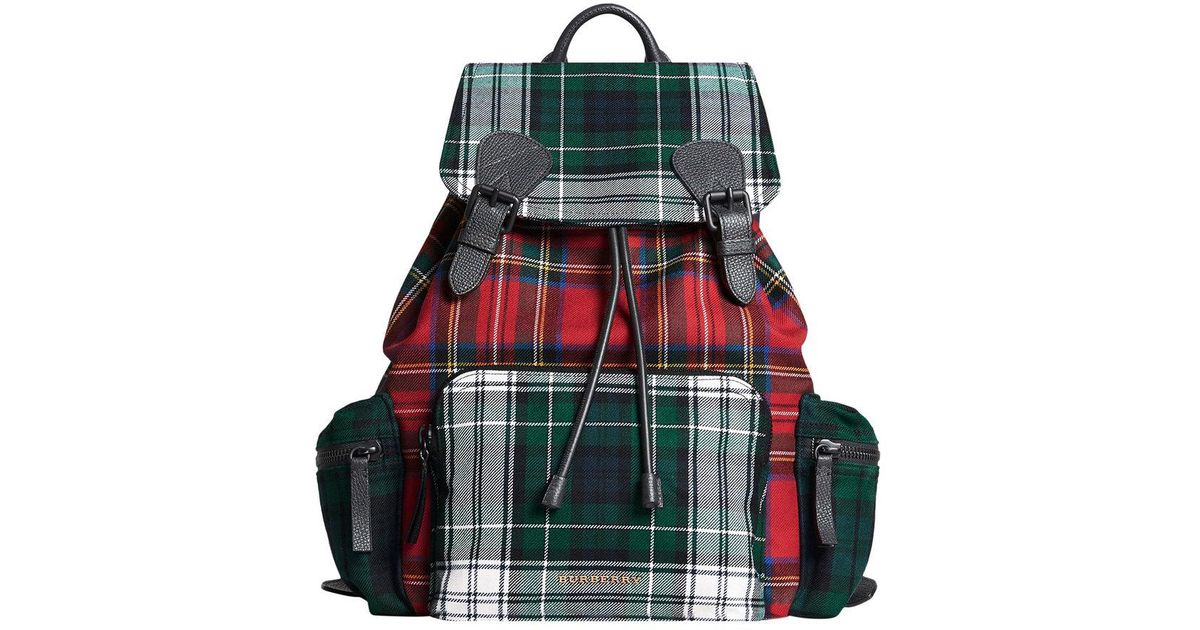 e115368e6 Burberry Large Patchwork Tartan Rucksack in Red - Lyst