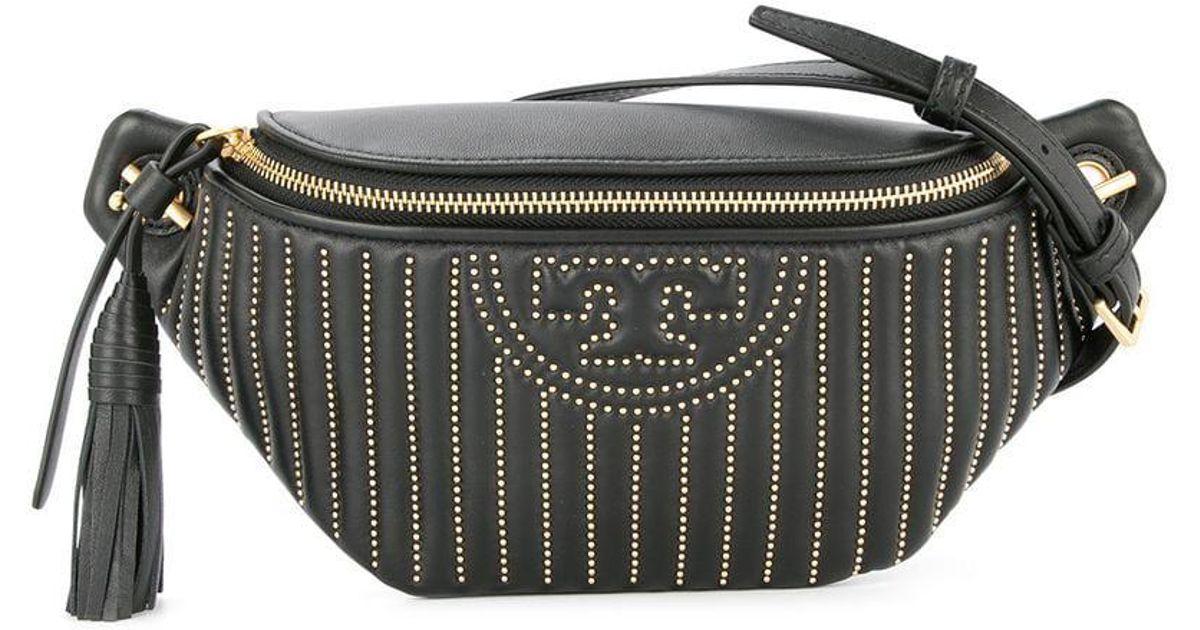 7b4994f4f7e8 Tory Burch Fleming Studded Belt Bag in Black - Lyst
