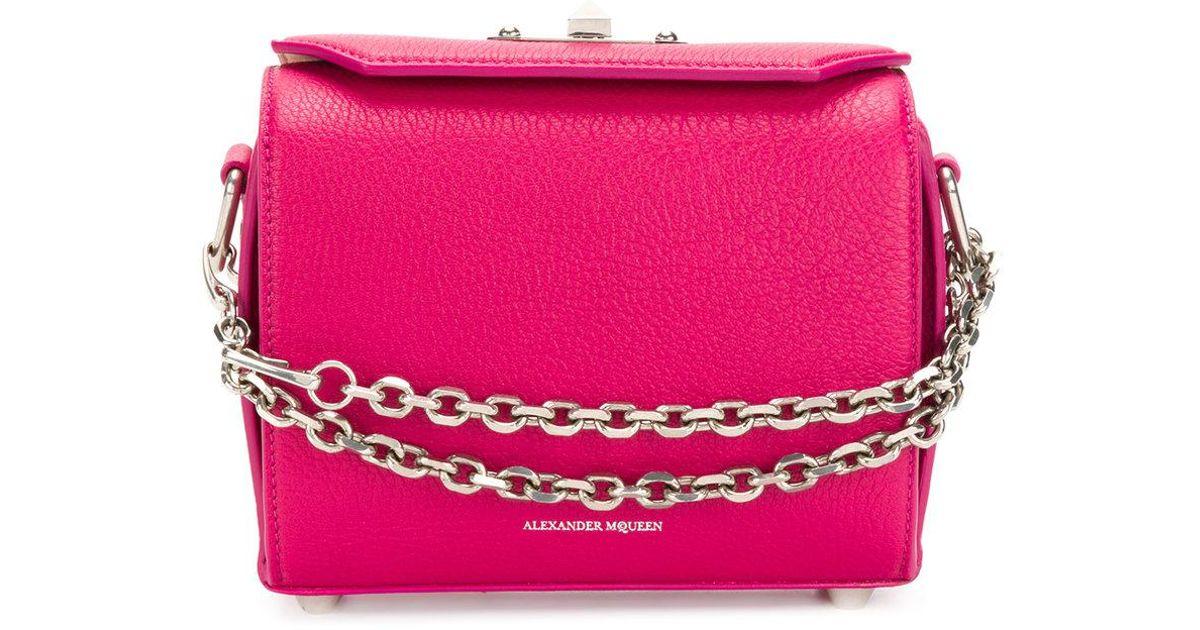 Bolso De La Caja De Cuero - Rosa Y Púrpura Mcqueen Alexander qSd59cJ