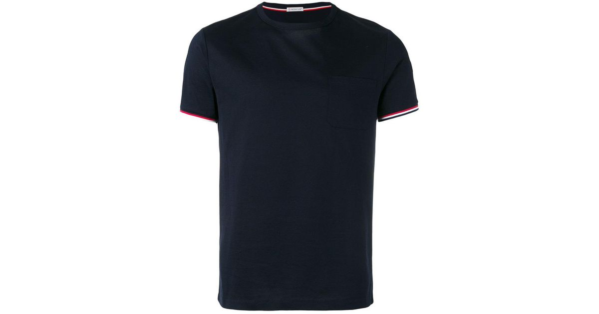 7c13b3dad5f05 Lyst - Moncler Tri-colour Striped Trim T-shirt in Blue for Men