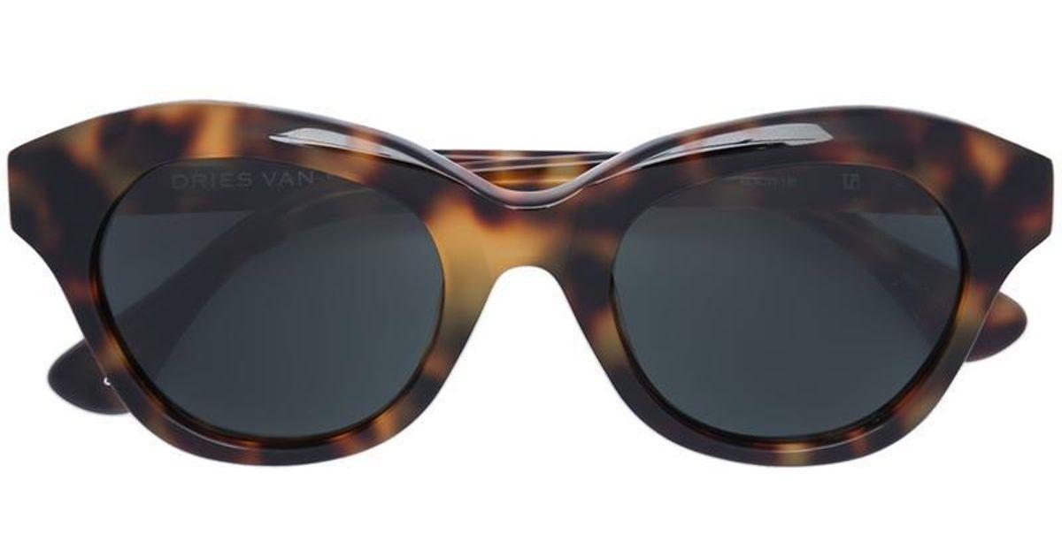 c5c64b60c50 Lyst - Linda Farrow Blurred Leopard Print Sunglasses in Brown