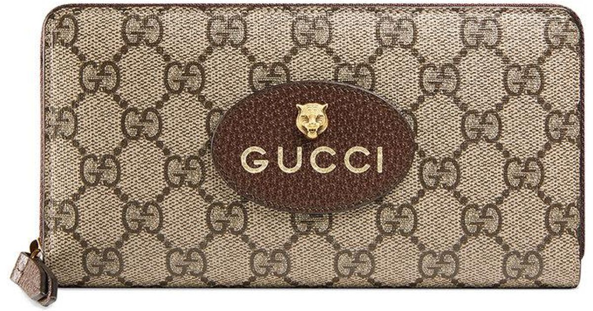 aed814523d27 Gucci Neo Vintage Gg Supreme Zip Around Wallet - Lyst