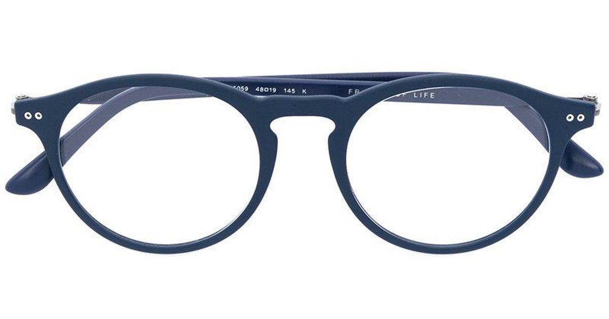 Giorgio Armani Round Frame Glasses in Blue - Lyst