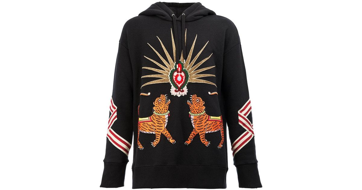 0ea388ed0d2 Lyst - Gucci Tiger Embroidered Hooded Sweatshirt in Black for Men