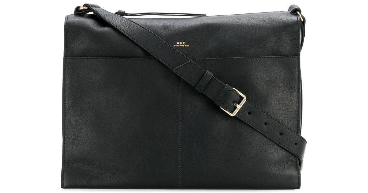 ad60bcae74 Lyst - A.P.C. Logo Embossed Shoulder Bag in Black