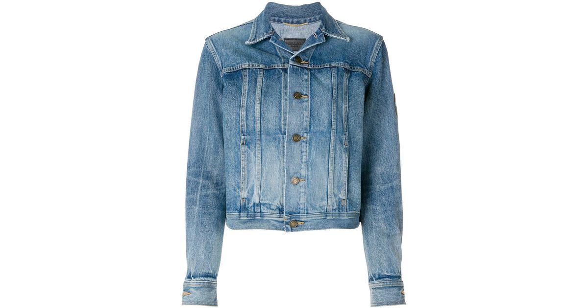 super cute price reduced luxury Saint Laurent Blue Original Ysl Military Patch Jean Jacket