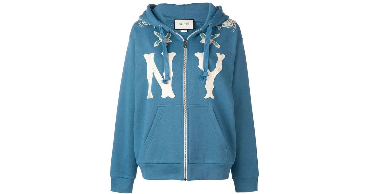 a89e388a559 Lyst - Gucci  ny  Patch Hooded Jacket in Blue