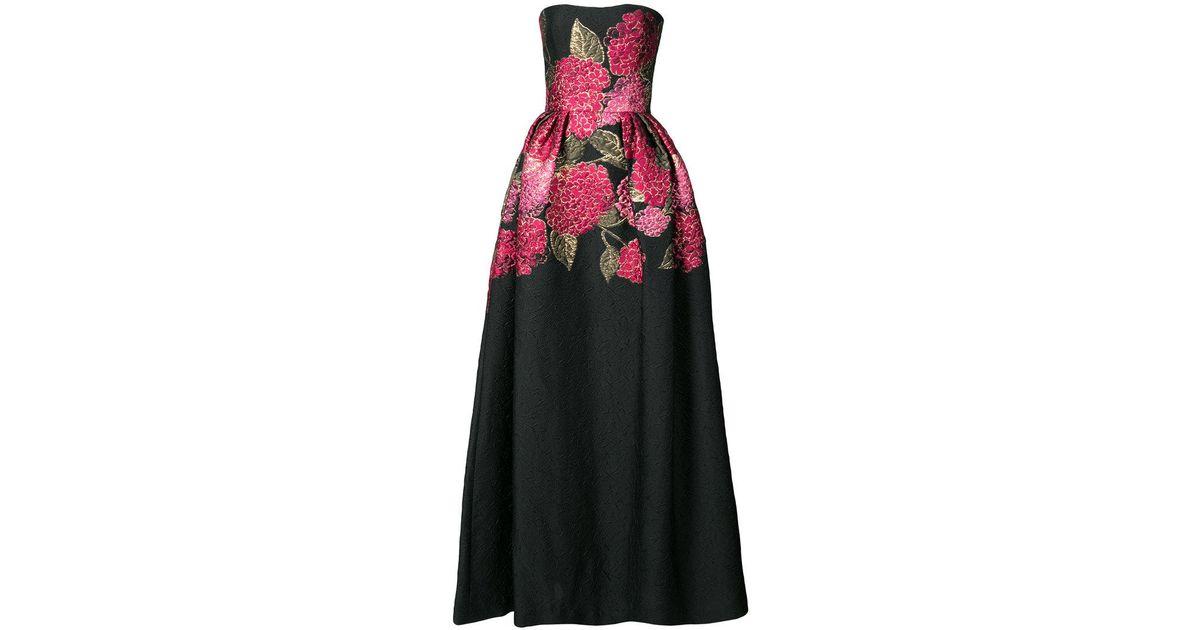 Lyst - Carolina Herrera Floral Bouquet Ball Gown in Black