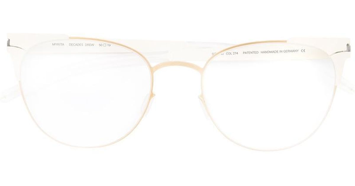 Lyst - Mykita Round Frame Glasses in White