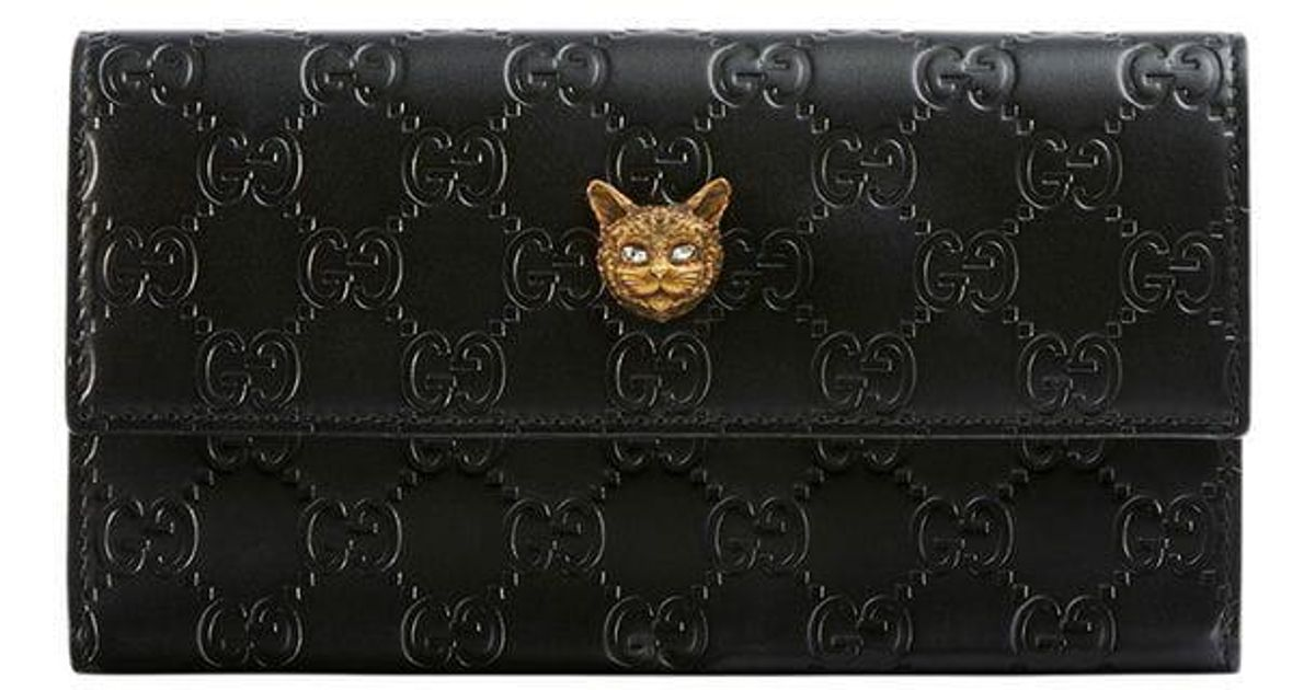 cee4923d6813 Gucci Signature Continental Wallet With Cat in Black - Lyst