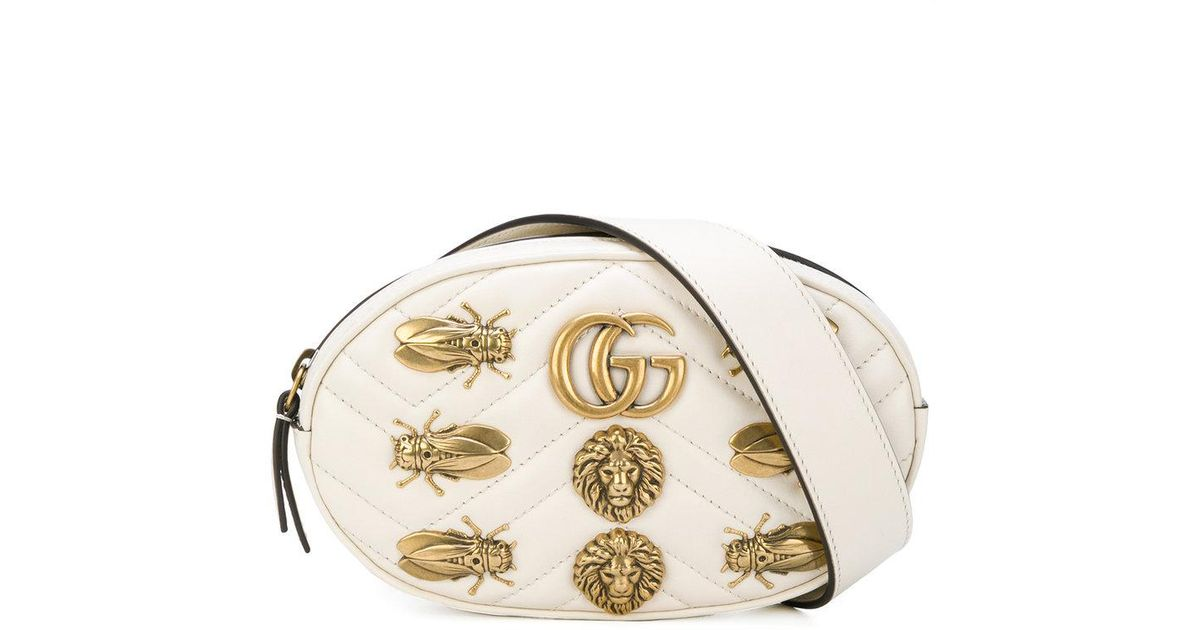 620ed5f7502ea3 Gucci Gg Marmont Belt Bag in White - Lyst