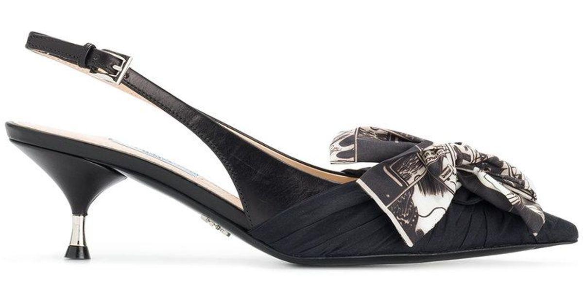 printed bow slingback pumps - Black Prada WNPdck1