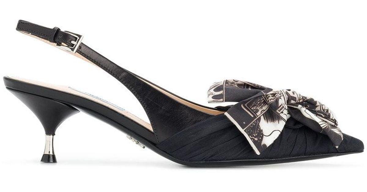 865263e95d5d Prada Printed Bow Slingback Pumps in Black - Lyst
