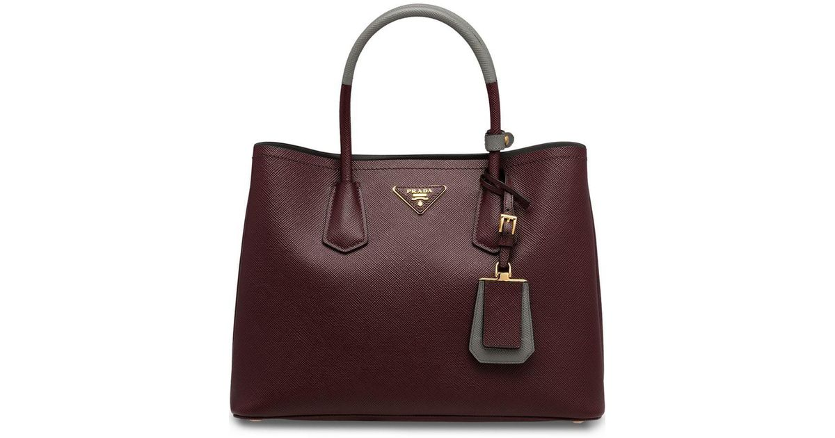 d04a03712499 Lyst - Prada Saffiano Double Tote Bag in Red