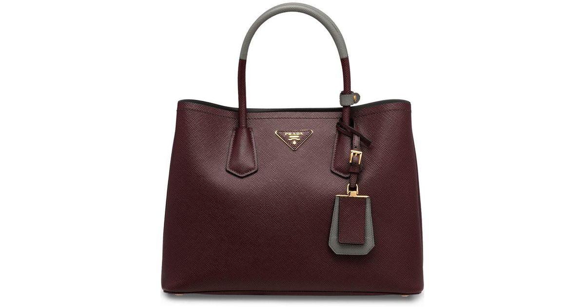 f74ad8a11ebf Lyst - Prada Saffiano Double Tote Bag in Red