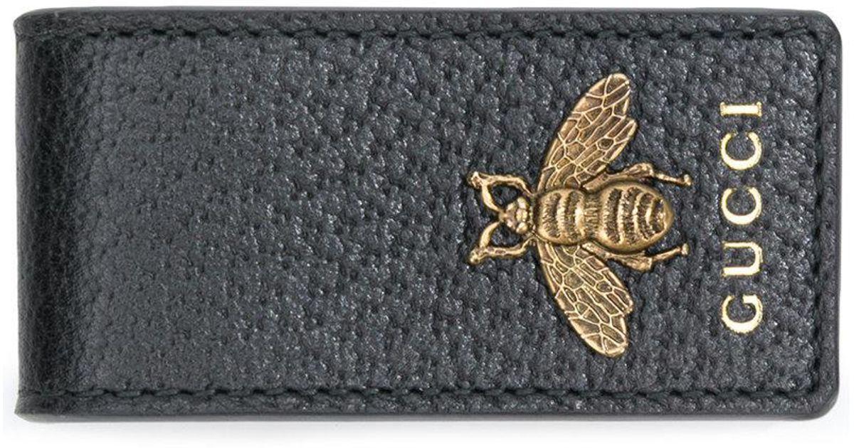 mejor coleccion precio al por mayor moda de lujo Clip para billetes con abeja Gucci de hombre de color Black
