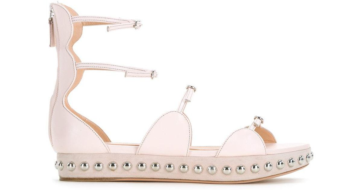 85ac7950ec86 Lyst - Giambattista Valli Studded Strappy Ballerina Shoes in Pink