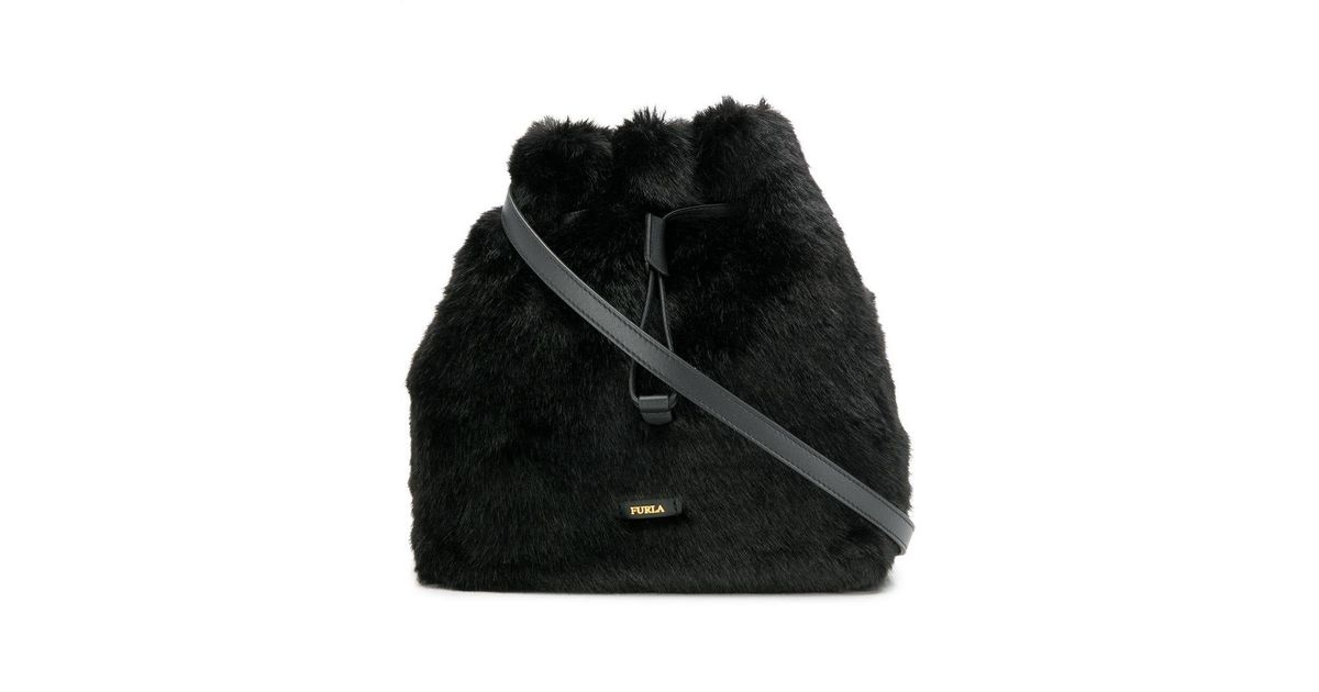 Lyst - Furla Stacy Faux Fur Bucket Bag in Black 1131bb23a2f3c