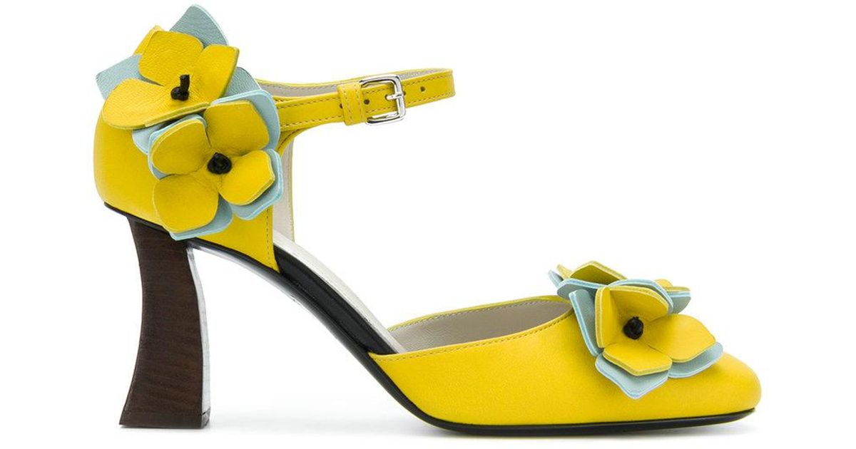 041f8fa6953 Lyst - Marni Floral Applique Mary Jane Pumps in Yellow