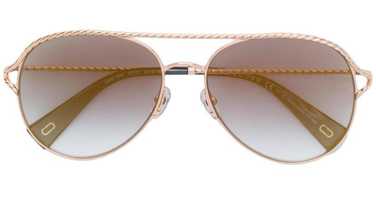 9bad9a341be57 Marc Jacobs Aviator Sunglasses in Metallic - Lyst