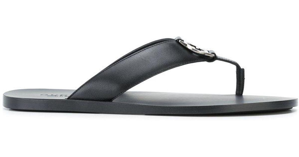 7ea9053f7 Lyst - Gucci Logo Plaque Thong Sandals in Black for Men